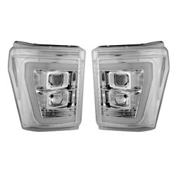 RECON-264272CLC-Ford-Superduty-11-16-F250-F350-F450-F550-Clear-Chrome-Headlights-Projector