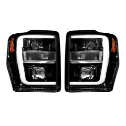 RECON-264196BKC-Ford-Superduty-08-10-F250-F350-F450-F550-Smoked-Black-Headlights-Projector