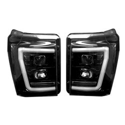 RECON-264272BKC-Ford-Superduty-11-16-F250-F350-F450-F550-Smoked-Black-Headlights-Projector