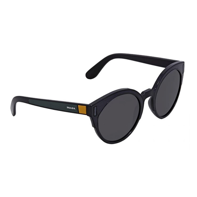 fcfc8b309e18 Prada PR03US-53Grey-07E5S0 Round Sunglasses Black Frame ...