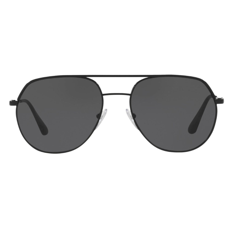 5b6033e81b5a Prada PR55US-54-1AB5S0 Metal Plaque Sunglasses Black Frame Grey Lens