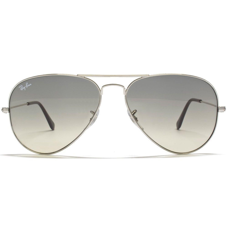 015b180a21 Ray-Ban RB3025-003-32 Aviator Sunglasses Silver Frame Light Grey ...