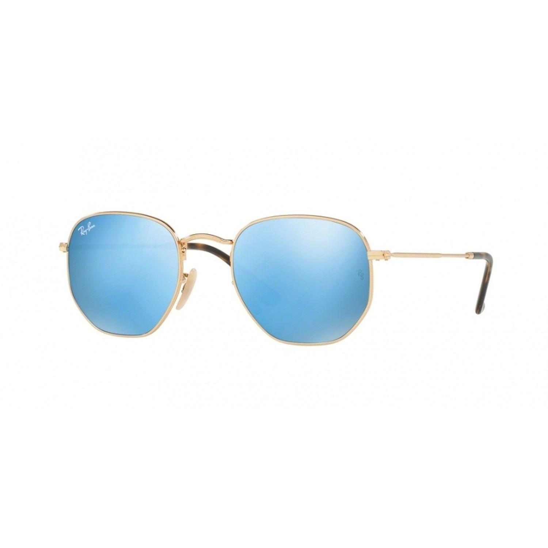 e27b65b56a3 Ray-Ban RB3548N-001-90 Hexagonal Sunglasses Gold Frame Blue ...