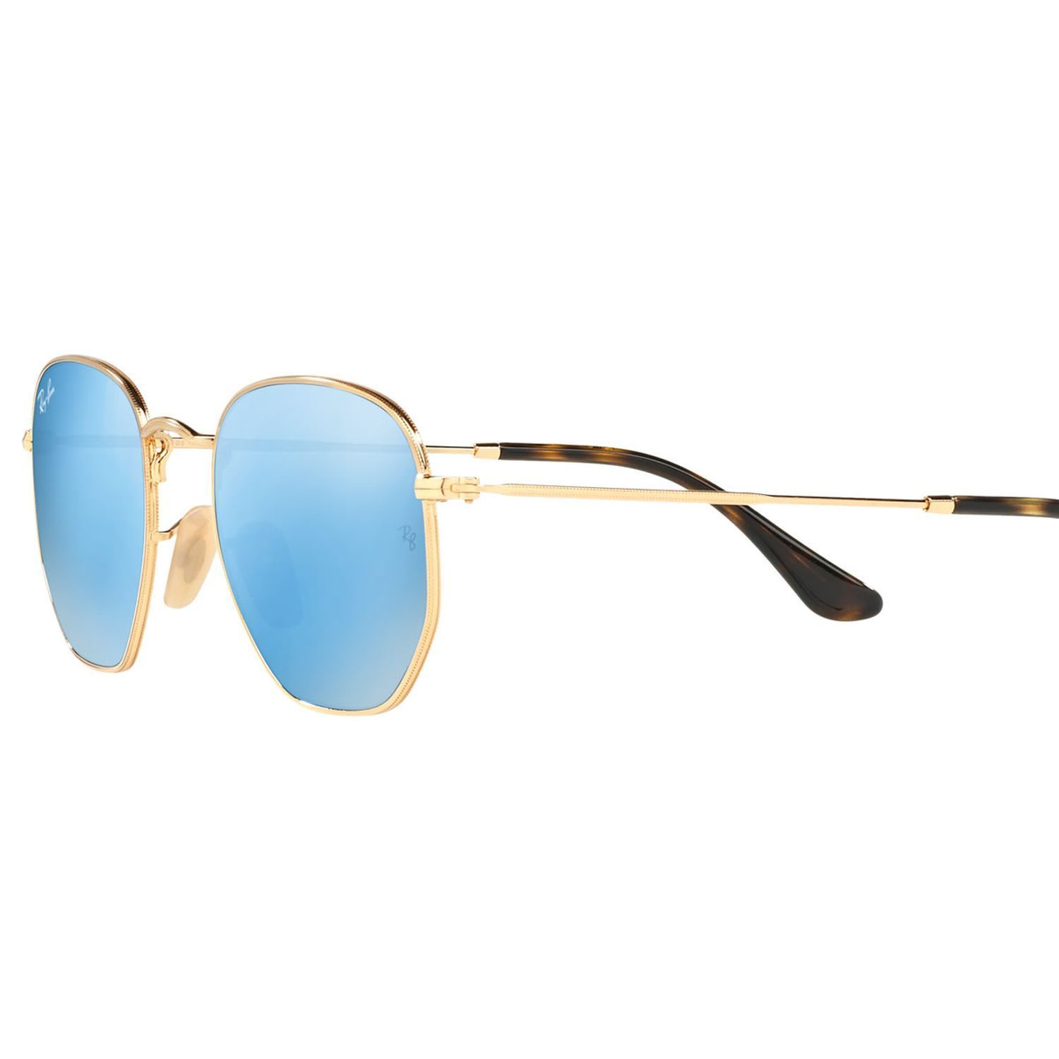 8e24f9ce72 Ray-Ban RB3548N-001-90 Hexagonal Sunglasses Gold Frame Blue Mirror Lens