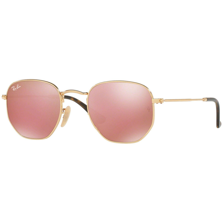 b56b51f349 Ray-Ban RB3548N-001-Z2 Hexagonal Sunglasses Gold Frame Copper Flash Mirror  Lens