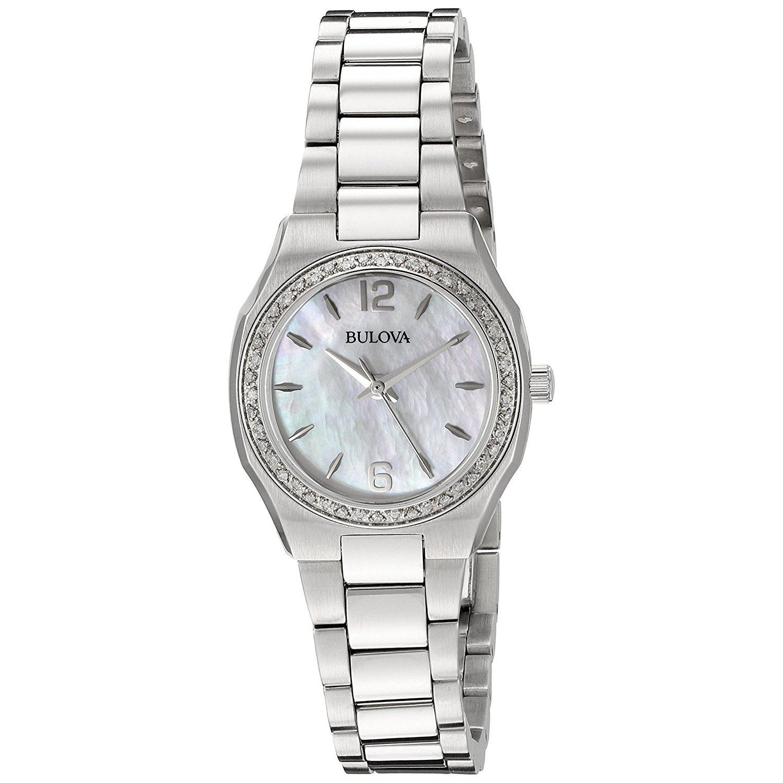 Bulova 96r199 womens diamond silver tone quartz watch for Celebrity quartz watch