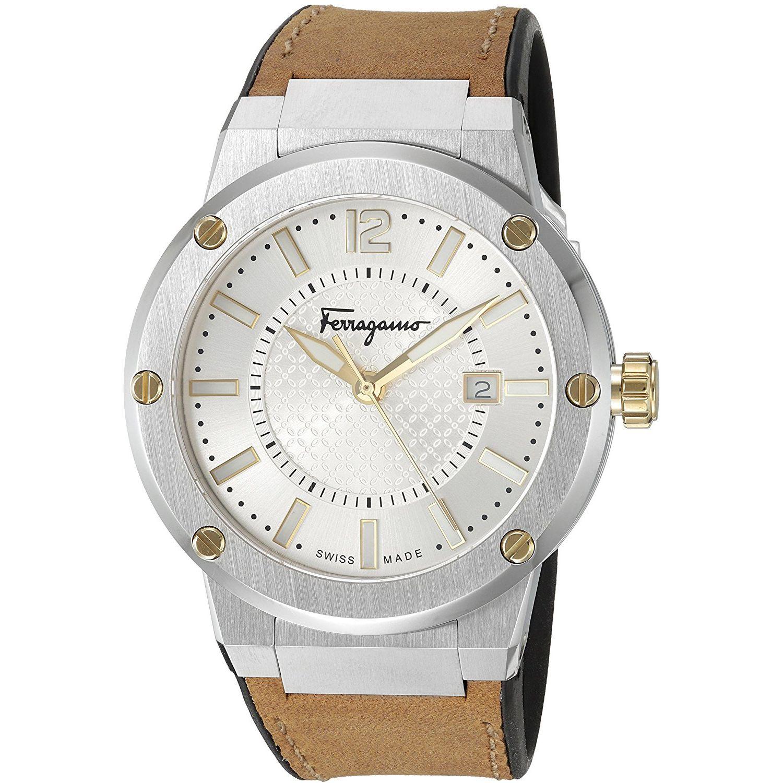 Ferragamo fif080016 mens f 80 two tone quartz watch for Celebrity quartz watch