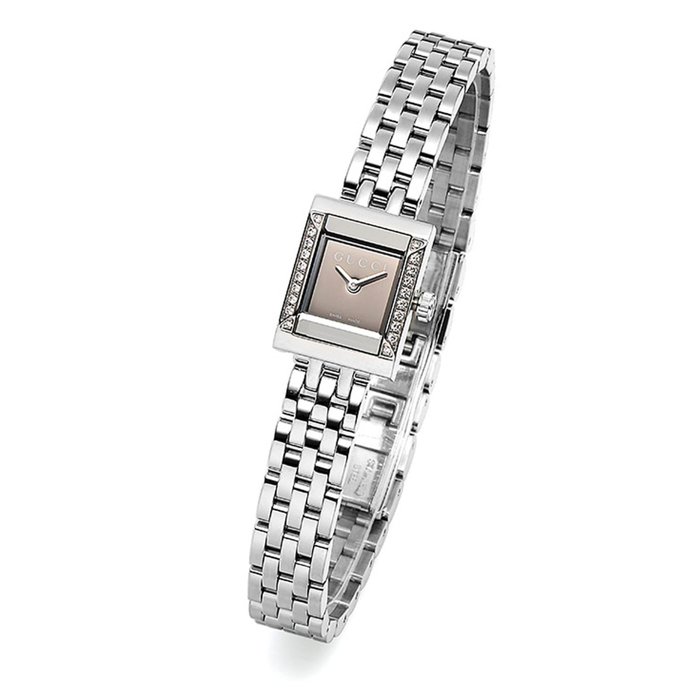 e2cb6576097 Gucci YA128508 Womens G Frame square Silver Quartz Watch