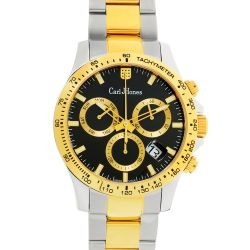 Carl-Jhones-138-102-B16-Mens-Torque-Two-Tone-Chronograph-Black-Quartz-Watch
