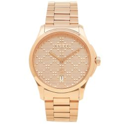 Gucci-YA126482-Mens--G-Timeless--Rose-Gold-Diamond-Pattern--Quartz-Watch