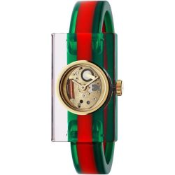 Gucci-YA143501-Womens-Plexiglass-Skeleton-Dial-Red-and-Green-Quartz-Watch